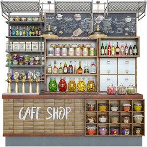 cafe racks filling 3D model