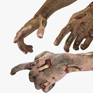 3D zombie hands rigged