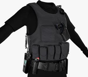 3D police officer equipment model