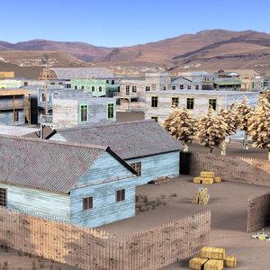 3D model town wild west