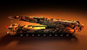 3D nuclear missile hwasong rocket