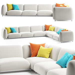 3D model paola lenti mellow sofa