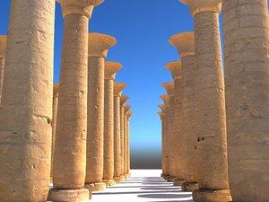 ancient pillar luxor ready 3D