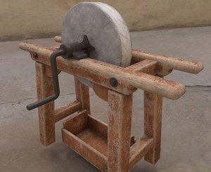 3D old grindstone pbr model