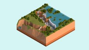 3D cartoon victoria falls