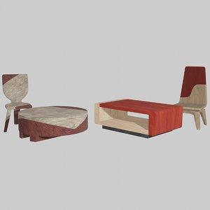 3D wooden chair 1