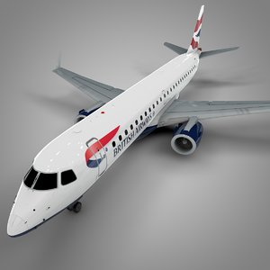 3D british airways embraer190 l599 model