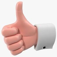 Cartoon Man Hand Thumbs-Up Gesture