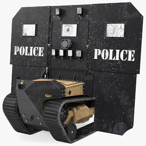 3D model damaged rbs1 swat bot