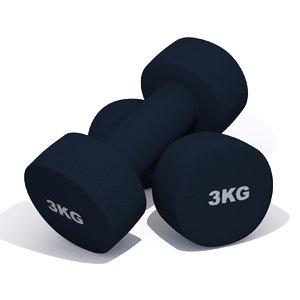 3kg dumbbells 3D