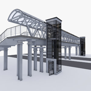 steel pedestrian bridge 3D