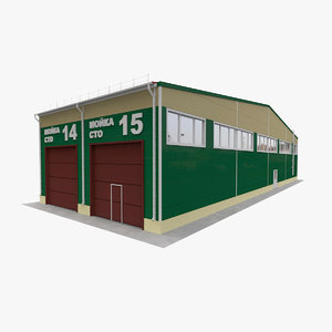 small town garage building 3D