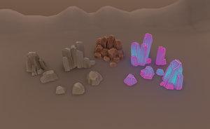 3D model rock cristal