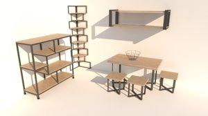 3D furniture metal wood