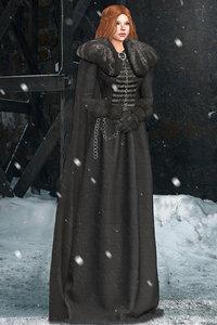 3D got medieval cape coat