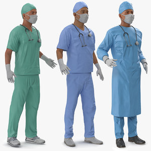 3D model male rigged surgeons