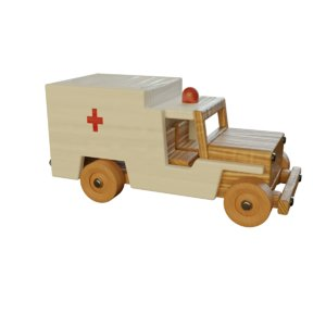 3D wood toy ambulance car