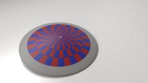 3D model blue red shield
