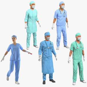 3D rigged doctors 2 model