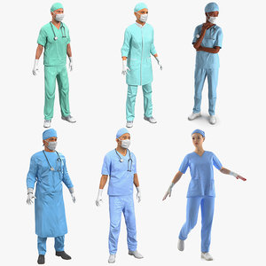 3D rigged doctors 3