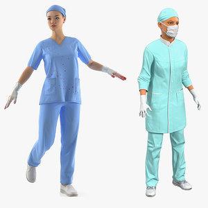 3D female doctors rigged model