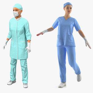 female doctors 2 rigged 3D model