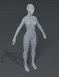 3D female body base mesh