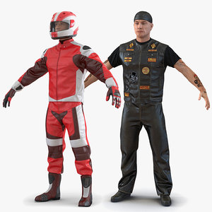 biker motorcycle rider rigged man 3D