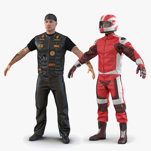 3D biker motorcycle rider rigged man