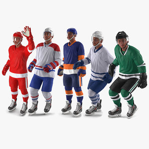 hockey players generic rigged 3D model