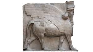 3D human-headed winged bulls assyria