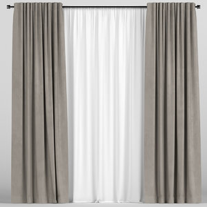 3D tulle brown curtain model