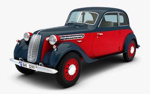 3D generic retro car coupe model
