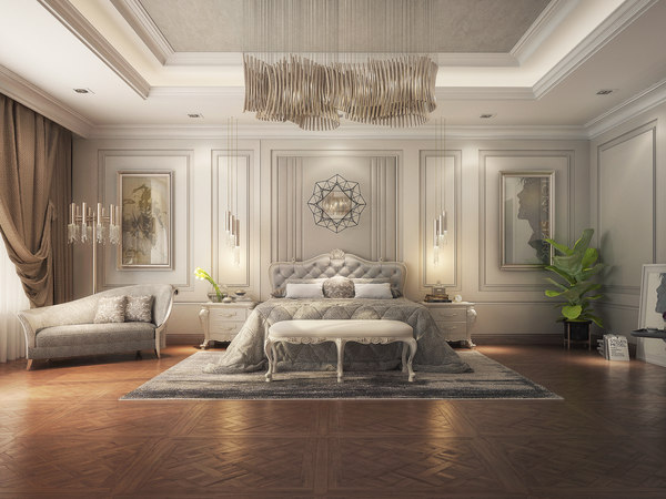 Realistic Classic Master Bedroom Design 3d Model Turbosquid 1516392