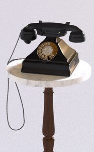 vintage rotary phone marble 3D model