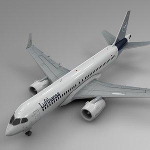 3D model lufthansa airbus a220-300 l600