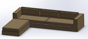leather corner sofa 3D model