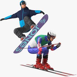 3D skier snowboard man boards model