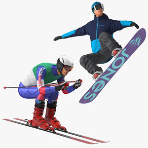 3D skier snowboard man boards