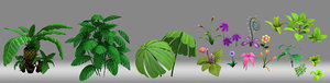 cartoon plant shrub flower 3D