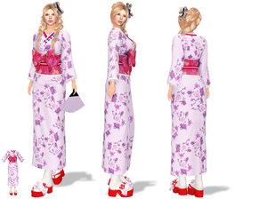 geisha kimono sandals 3D model