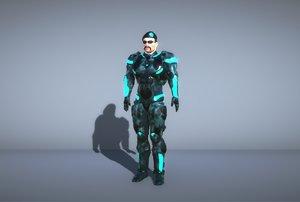 3D sci-fi captain- future soldier