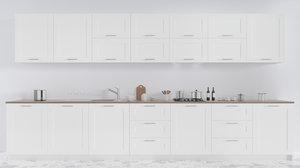 3D white modern kitchen