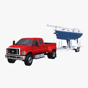 3D f-650 generic sailboat trailer