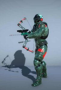 3D sci-fi cyborg soldier bow