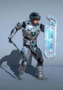 sci-fi cyborg soldier ax 3D model