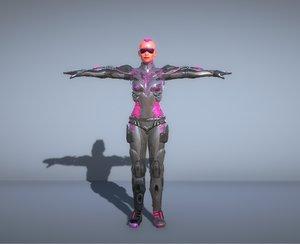 sci-fi woman soldier 3D model
