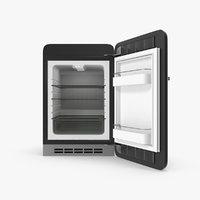 Open Black Retro Refrigerator