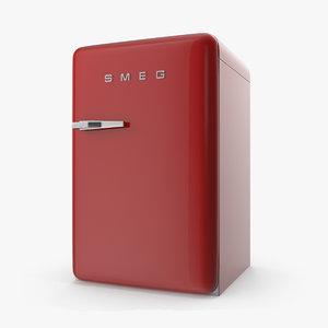 closed red refrigerator smeg 3D model