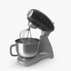black stand mixer smeg 3D model